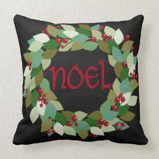 Faux Black Chalkboard | Noel Wreath Throw Pillow