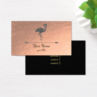 faux black glitter flamingo on rose gold business card