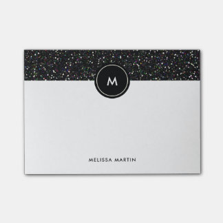 Faux Black Glitter Look with Monogram Post-it® Notes