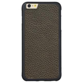 Faux Black Leather Carved Maple iPhone 6 Plus Bumper Case