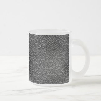 Faux Black Leather Frosted Glass Coffee Mug