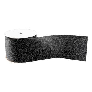 Faux Black Leather Grosgrain Ribbon