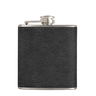 Faux Black Leather Hip Flask