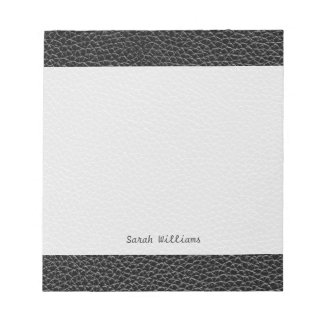 Faux Black Leather Notepad