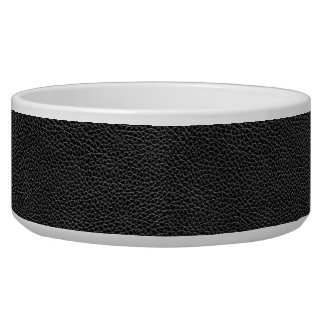 Faux Black Leather Pet Bowl