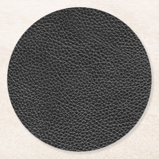 Faux Black Leather Round Paper Coaster
