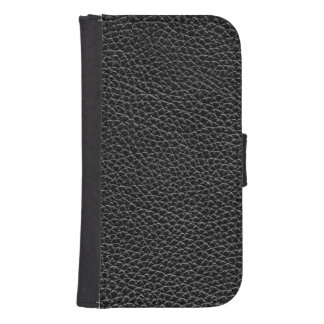 Faux Black Leather Samsung S4 Wallet Case