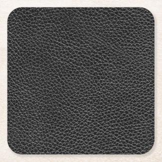 Faux Black Leather Square Paper Coaster