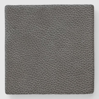 Faux Black Leather Stone Coaster