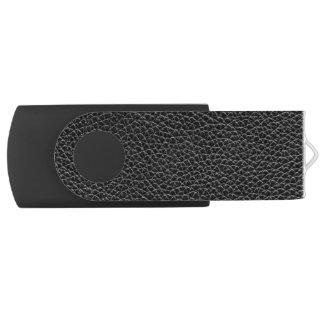 Faux Black Leather Swivel USB 2.0 Flash Drive