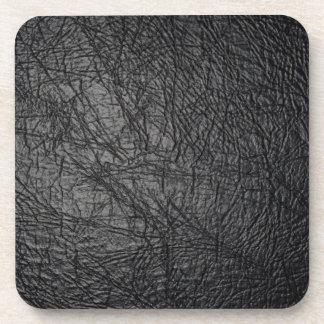 Faux Black Leather Texture Beverage Coaster
