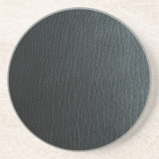 Faux Black Leather Texture Coaster