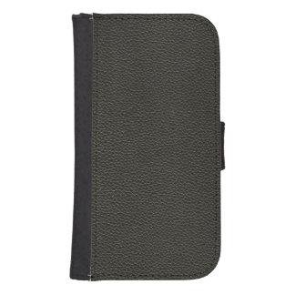 Faux Black Leather Texture Phone Wallet
