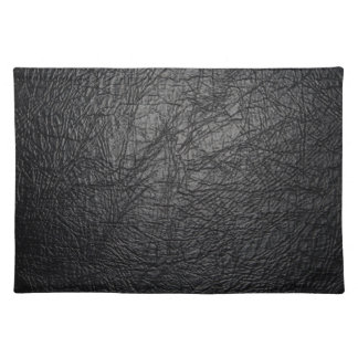 Faux Black Leather Texture Placemat