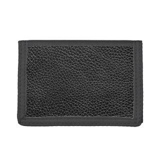 Faux Black Leather Tri-fold Wallets