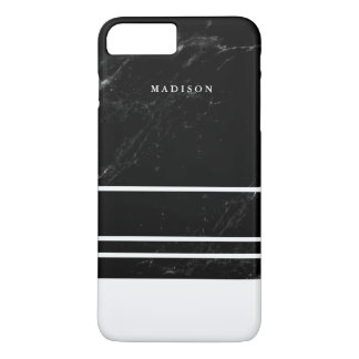 Faux Black Marble and Minimalist White Stripes iPhone 7 Plus Case