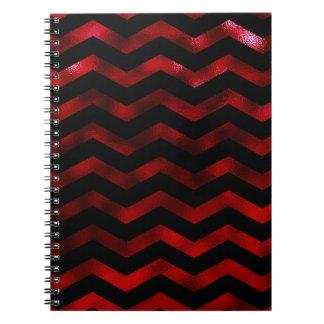 Faux Black Red Burgundy Foil Texture Chevron Notebook