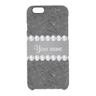Faux Black Sequins Sparkles and Diamonds Clear iPhone 6/6S Case