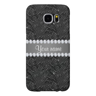 Faux Black Sequins Sparkles and Diamonds Samsung Galaxy S6 Cases