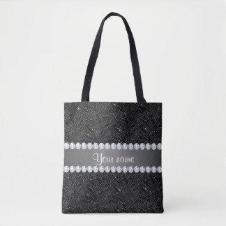 Faux Black Sequins Sparkles and Diamonds Tote Bag