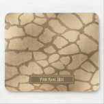 """Faux """"Blonde"""" Gold Giraffe Print Personalized Mouse Pad"""