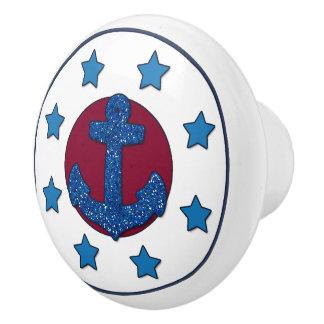 Faux Blue Glitter Anchor   Blue Stars Nautical Ceramic Knob