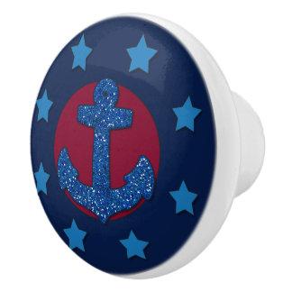 Faux Blue Glitter Anchor   Nautical Ceramic Knob