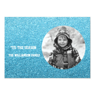 Faux Blue Glitter Black and White Photo FIlter Card