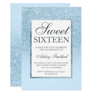 Faux blue glitter elegant chic Sweet 16 Card