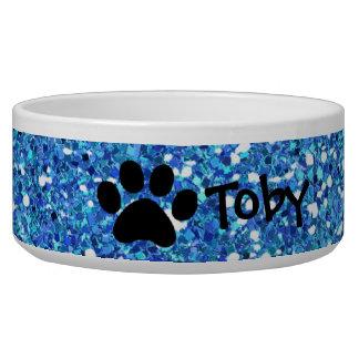 Faux Blue Glitter Paw Print Personalized Pet Bowl