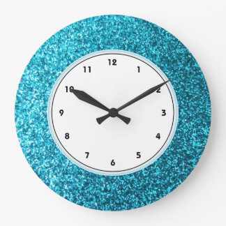 Faux Blue Glitter wall clock