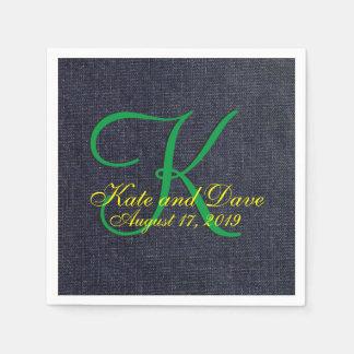 Faux Blue Jean Denim Cloth 3d Monogram Disposable Napkin