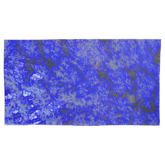 Faux Blue Marble King Size Pillowcase Pair