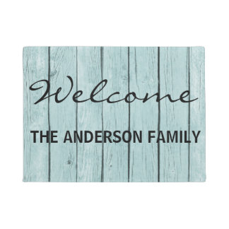 Faux Blue Wood personalized Door Mat