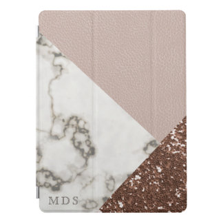 Faux Blush Leather Marble Glitter iPad Pro Cover