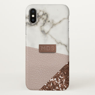 Faux Blush Leather Marble Glitter iPhone X Case
