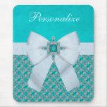Faux Bow & Aquamarine & Silver Jewels Mousepad