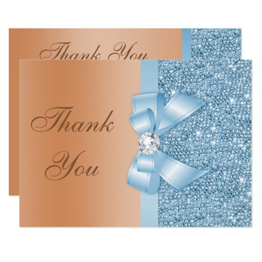 Faux Bow Sequins Blue Milk Chocolate Thank You Card