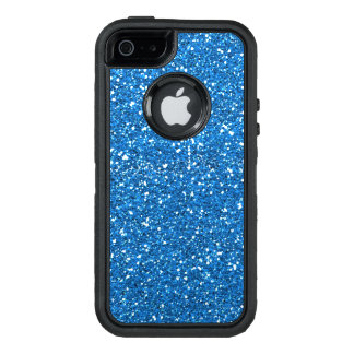 Faux bright blue glitter bling otterbox case