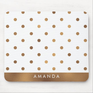 Faux BRONZE POLKA DOTS PERSONALIZE ADD YOUR NAME Mouse Pad
