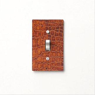 Faux Brown Crocodile Skin Print Light Switch