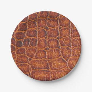 Faux Brown Crocodile Skin Print Paper Plate