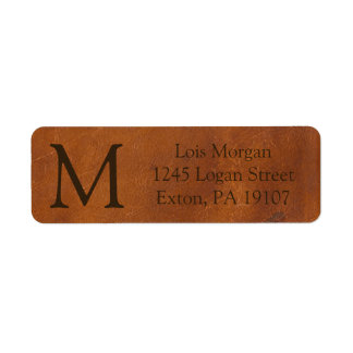 Faux Brown Leather Texture Return Address Label