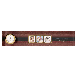 Faux Brown Leather Triple Photo Nameplate