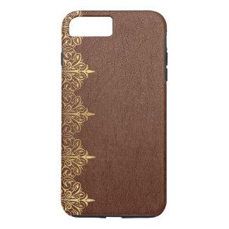 Faux Brown Vintage Leather Gold Floral Border No.2 iPhone 8 Plus/7 Plus Case