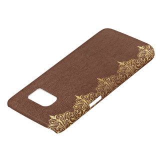 Faux Brown Vintage Leather Gold Floral Border No.4 Samsung Galaxy S7 Case