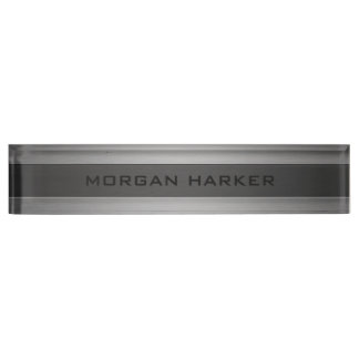 Faux Brushed Steel Nameplate