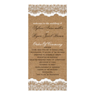 FAUX Burlap and lace Wedding program Rack Card Design