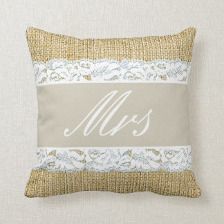 Faux Burlap Bride Pillow