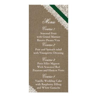 FAUX Burlap emerald green wedding menu cards Rack Card Template